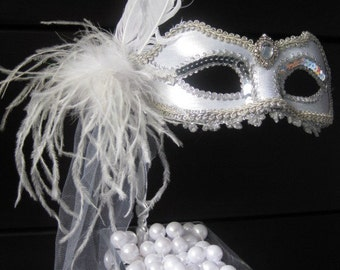 BRIDE Masquerade MASK- Mardi Gras- Masquerade Style- Elegant- Silver with Silver Trim, White Feathers, White veil piece