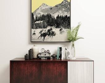 Mountain Art, Winter Wall Art, Modern Yellow and Grey Decor - Winter Races