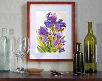 "Irises in the Spring - ORIGINAL WATERCOLOR by Linda Henry - 11"" x 14"" - Ready to Frame with a free White Mat (#QS001)"