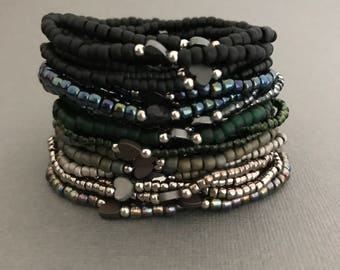 Black Galaxy Heart Bracelet Stack, Army Green Bracelet Stack, Valentine's Day Gifts, Heart Bracelet, Love Bracelets, Gifts for Her