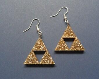 Triforce Zelda Acrylic Earrings - Gold Glitter