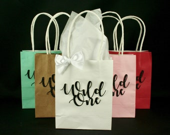Wild One First Birthday Party Favor Gift Bags with White Satin Bow - Set of 6, 24, 48
