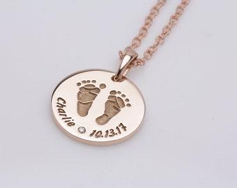 14K SOLID Rose Gold Personalised Baby Feet Footprints Pendant