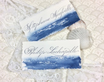 Watercolor Place Cards - Calligraphy Place Cards - Beach Wedding - Wedding Escort Cards - Navy Blue - Dark Blue -