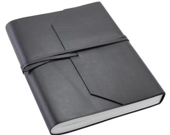 Genuine Leather Wrap Journal in Black, Brown, Red and White