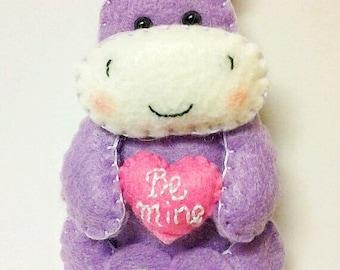 Valentine's Gift - Purple Hippo - Felt Hippo - Hippo Ornament - Felt Valentine - Felt Heart - Valentine Ornament - Hippo Gift - Hippopotamus