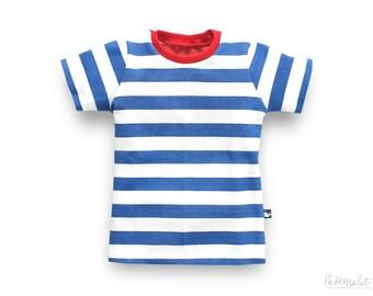toddler boy t-shirt, blue white striped, made of 100% organic cotton