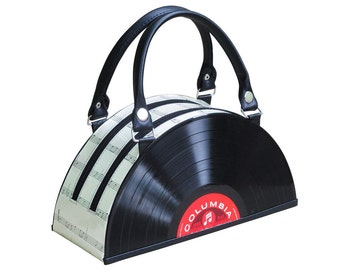 retro vinyl record tote bag handbag - music lover gift - vintage gift ideas - nostalgic gifts for women - eco bag - recycled gifts for her
