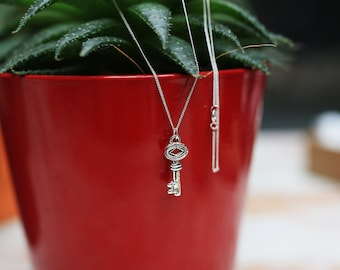 Silver key necklace / key pendant / skeleton key / key charm / silver necklace / gift for her / bridesmaid gift