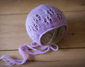 Flower Eyelet Newborn Bonnet