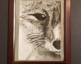 "Black and White Print: ""Fox Face"""