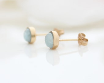 Aquamarine stud earrings - gold post earrings set with aquamarine gemstones