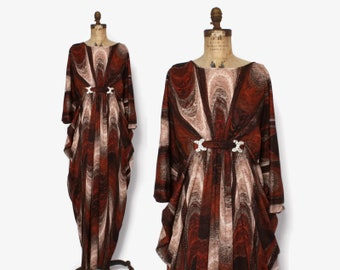 Vintage 60s Boho CAFTAN / 1960s Lucie Ann Brown Swirl Rhinestone Trim Maxi Dress
