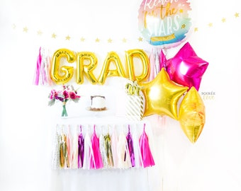 Pink & Gold Grad Balloon Tassel Party Box | Graduation Party Decor, Congrats Grad, Graduation, Grad Gift, Grad 2018, Grad Banner Garland
