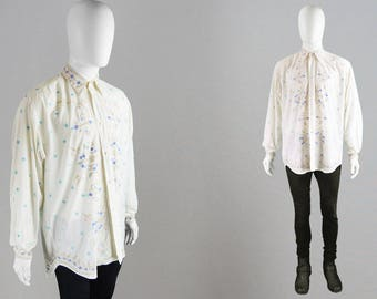 Vintage 90s KATHARINE HAMNETT Men's Embroidered Shirt Off White Button Up Floral Embroidery Shirt Loose Fit Top Oversized Shirt Designer Top