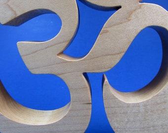 Yoga / Om or Aum Symbol / Shelf Sitter / Hard Maple Wood