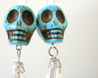 Sugar Skull Earrings Turquoise Blue Day of the Dead Jewelry
