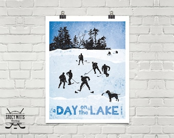 Day on the Lake Hockey Poster Print