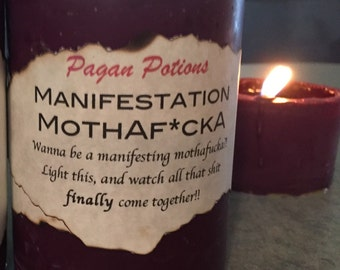 Ritual manifestation candle witchcraft pagan soy wax pillar candle