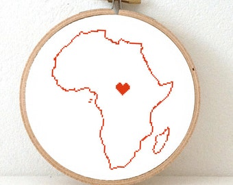AFRICA map modern cross stitch pattern. African art. DIY African embroidery. African Continent