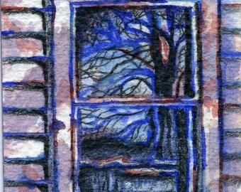 Tree Reflection ACEO mixed media