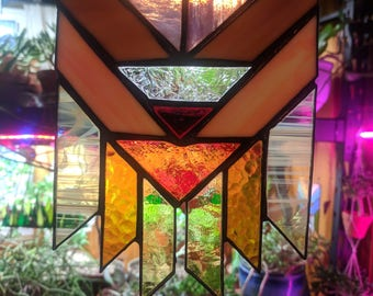 Art Deco Dreamcatcher Stained Glass Suncatcher (warm tones #3)