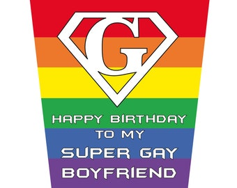 Happy Birthday To Super Gay Boyfriend Birthday Card