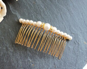 White pearl and crystal gold hair comb, Swarovski pearl comb, gold pearl hair accessories, wedding bridal accessories, pearl bridal comb