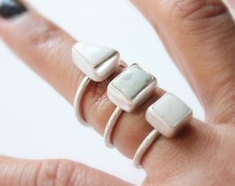 READY TO SHIP - White Buffalo Turquoise Sterling Silver Stacker Ring | Size 6 7 8 | Nevada Mine | Women's Minimalist | Gugma Jewelry