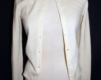 1950s Ivory Cardigan Sweater Sz XS Vintage Retro
