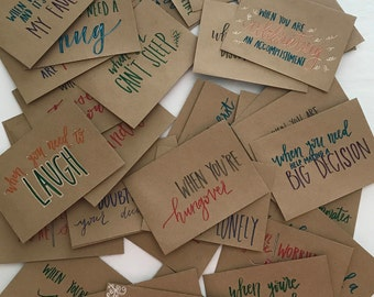 "Set of 10 - Hand Lettered ""Open When"" Envelopes - Going Away Present - Hand Lettered Envelopes - Open When Present - Heartwarming Present"