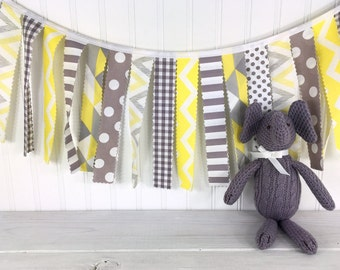 Garland Banner Bunting Baby Shower Baby Nursery Decor Wall Decor Wall Hanging Photography Props Yellow Grey Gray Chevron