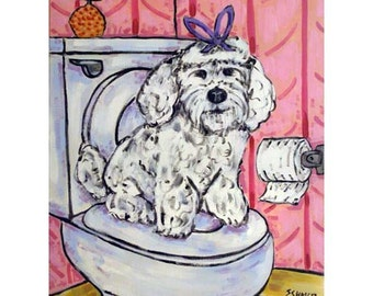 Maltese in the Bathroom Dog Art Print