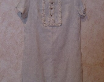 1960s Crochet Bib Linen Shift Dress