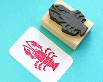 Rock Lobster Rubber Stamp - Seafood Stamper - Nautical Wedding - Gift for Foodie - Gift for Seafood Lover - Crustacean - Lobster Claws