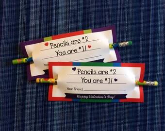 Kids Valentine - Instant Download - Valentine's Day Digital Printable -  Kids Valentines - Student Valentines - Pencil Valentine - Pencils