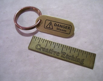 Danger Steam Etched brass mini dogtag