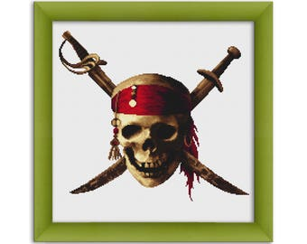 """PDF Cross Stitch Pattern """"Skull Pirates of the Caribbean""""  Instant Download"""
