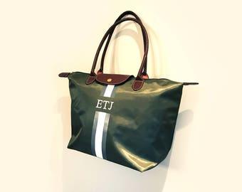 Personalised Nylon tote, Beach bag, Monogram, handbag, Stripe, Initials