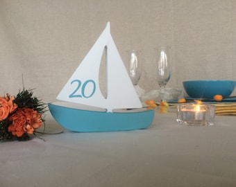 Beach wedding table numbers Sail Boats wood, Nautical table numbers freestanding double sided numbers boats, TablE NumberS SailBoats