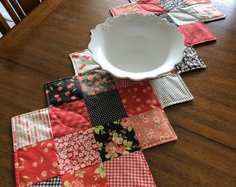 Quilted Table Runner, Handmade, Modern Quilt, Table Topper