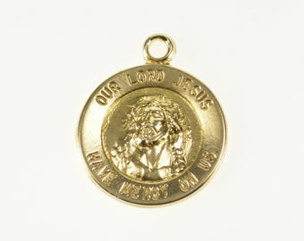 14k Our Lord Jesus Christ Round Christian Charm/Pendant Gold