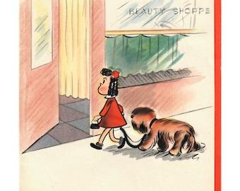 Vintage UNUSED BIRTHDAY Little Lulu Comic Character Takes Dog on Leash into Beauty Shop for Trim Hallmark Card 1945 Artist Marjorie Buell