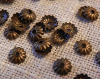 5mm Antique Bronze Beadcaps Ribbed Beadcaps Small Beadcaps Jewelry Making Jewelry Supplies DIY Supplies