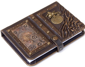 Steampunk leather journal with bee and clock, personalized leather notebook, writing journal, steampunk, journals with lock