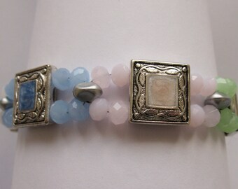 BR21 - Unique Handmade Multi-coloured Antique Look Bracelet
