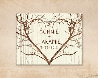 Branch Heart - Wedding Save the Date Design - 4x5 Postcard - Vintage Rustic Nature Woodland Tree Twigs - Brown Tan Sepia Ivory Cream