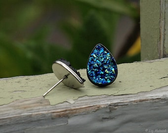 Faux Druzy Tear Drop Earrings, 10x14mm in Black, Blue and Teal Multi Color, Stainless Steel