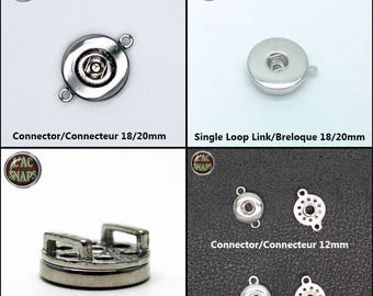 Connector/slide loop/slide for 18 / 20mm or 12mm snap button, Chunk, charm, ginger snap, Noosa Style, SNAPS. Lot 1,2,5,10.