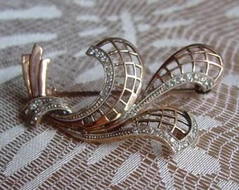 Brooch Vintage fix - engraved metal openwork * 3.5 cm * France